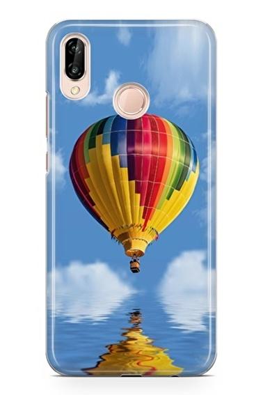 Lopard P20 Lite Kılıf Silikon Arka Kapak Koruyucu Balondan Kalpler Desenli Full HD Baskılı Renkli